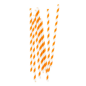Bright Orange Stripe Paper Straws - 25 Pack