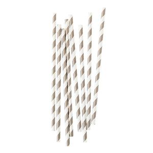 Grey Stripe Paper Straws - 25 Pack