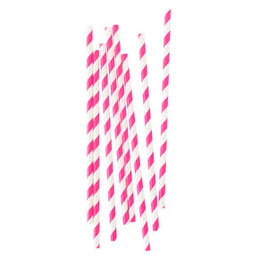 Hot Pink Stripe Paper Straws - 25 Pack