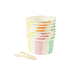 Pastel Stripe Ice Cream Cups Wooden Spoons Joe S Prop House Kids