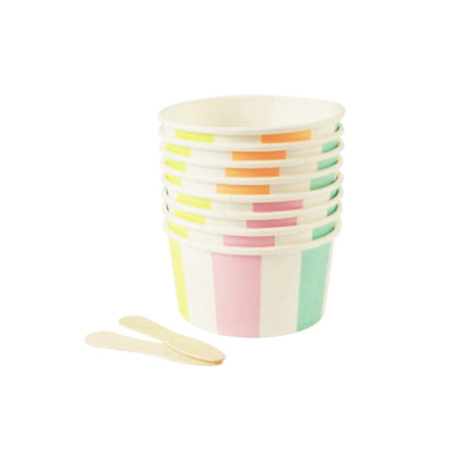 Pastel Stripe Ice Cream Cups & Wooden Spoons - 8 Pack