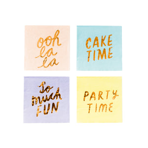 Party Time Assorted Small Paper Napkins - 16 Pack