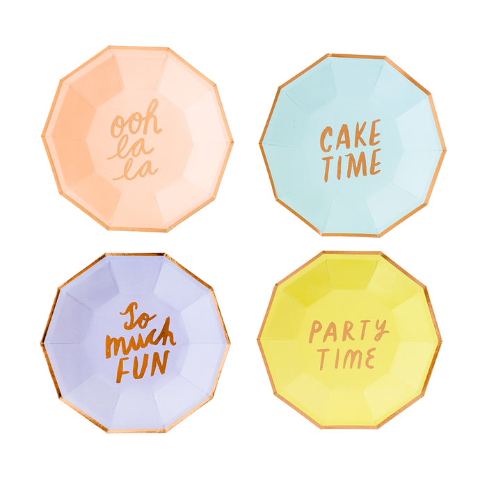 Party Time Assorted Small Paper Plates - 8 Pack