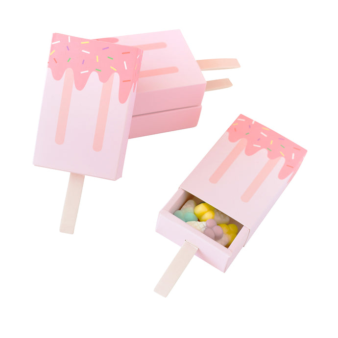 Pink Ice Cream Candy Favor Boxes - 4 Pack