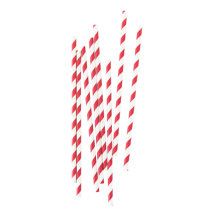 Red Stripe Paper Straws - 25 Pack