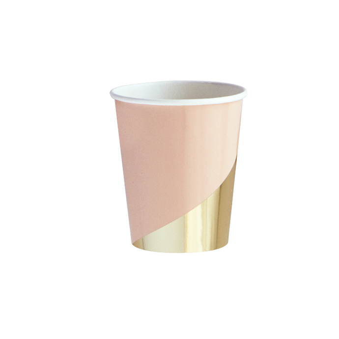 Boho Peach Gold Colorblock Paper Cups - 8 Pack