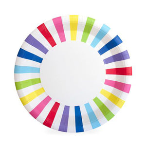 Bright Stripes Paper Plates - 12 Pack