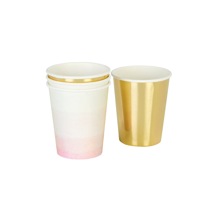 Pink Ombre and Gold Paper Cups Set - 12 Pack