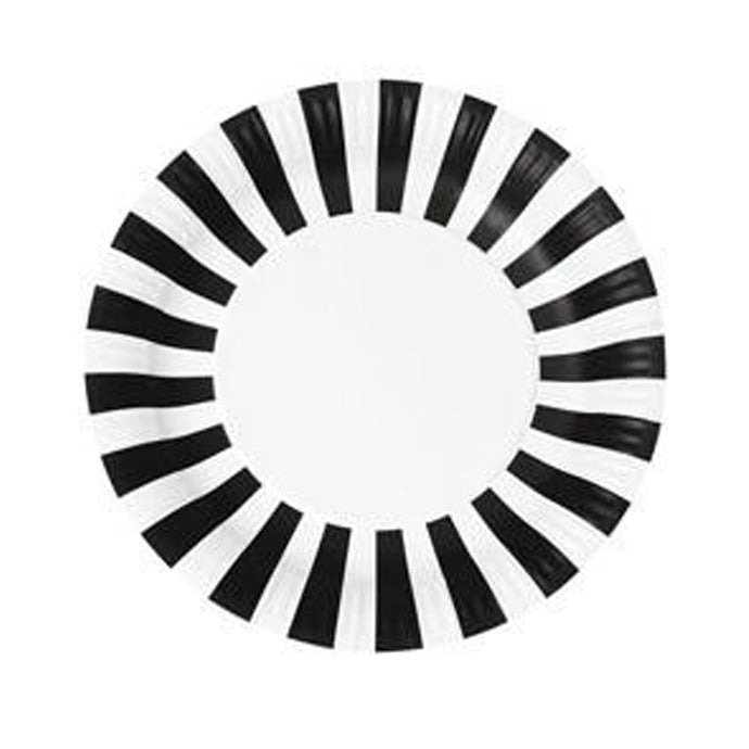 Black and White Stripe Large Paper Plates