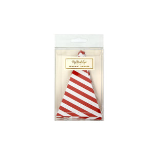 Red & White Mini Striped Pennant Garland