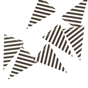 Black & White Mini Striped Pennant Garland