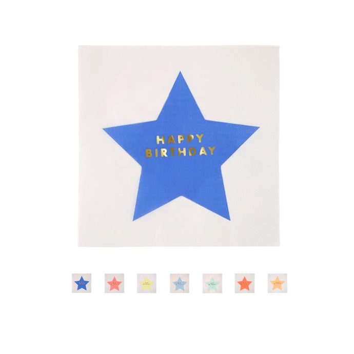 8 Multicolor Star HAPPY BIRTHDAY Large Napkins - 16 Pack