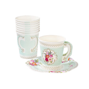Truly Scrumptious Paper Teacup + Saucer Set - 12 Pack