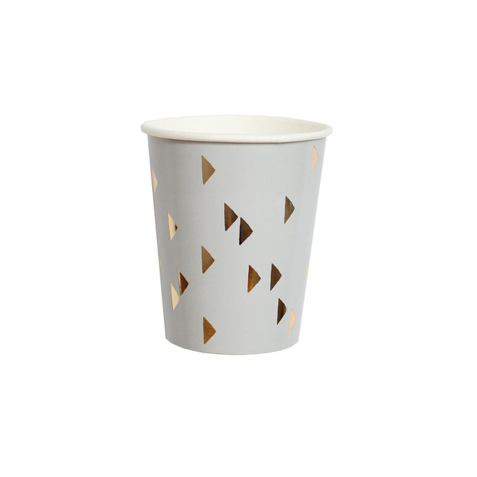 Boho Grey Triangles Paper Cups - 8 Pack