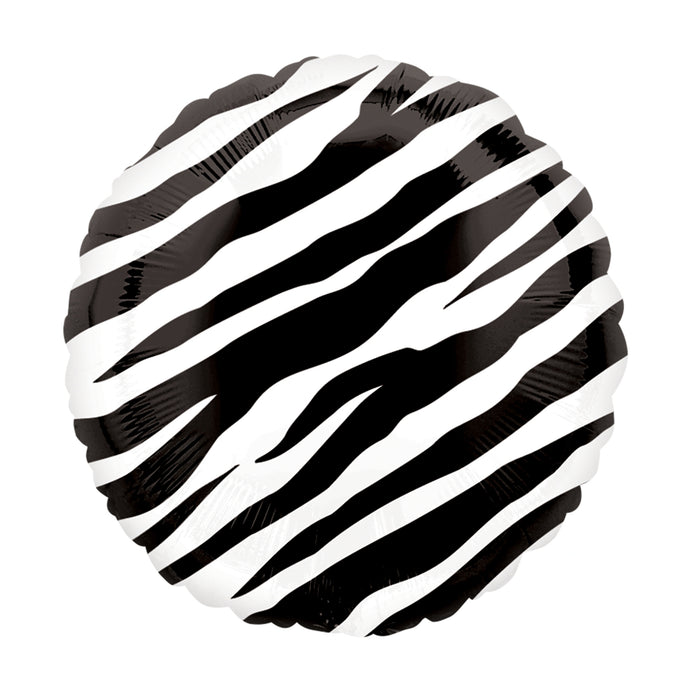 18in Zebra Print Round Foil Shape Balloon