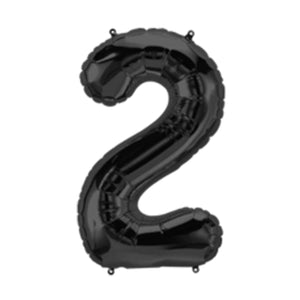 34in Number 2 Black Balloon
