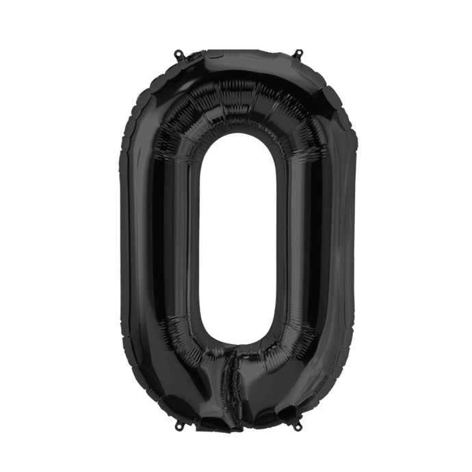 34in Number 0 Black Balloon