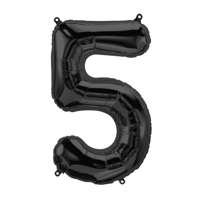 34in Number 5 Black Balloon