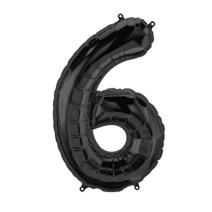 34in Number 6 Black Balloon