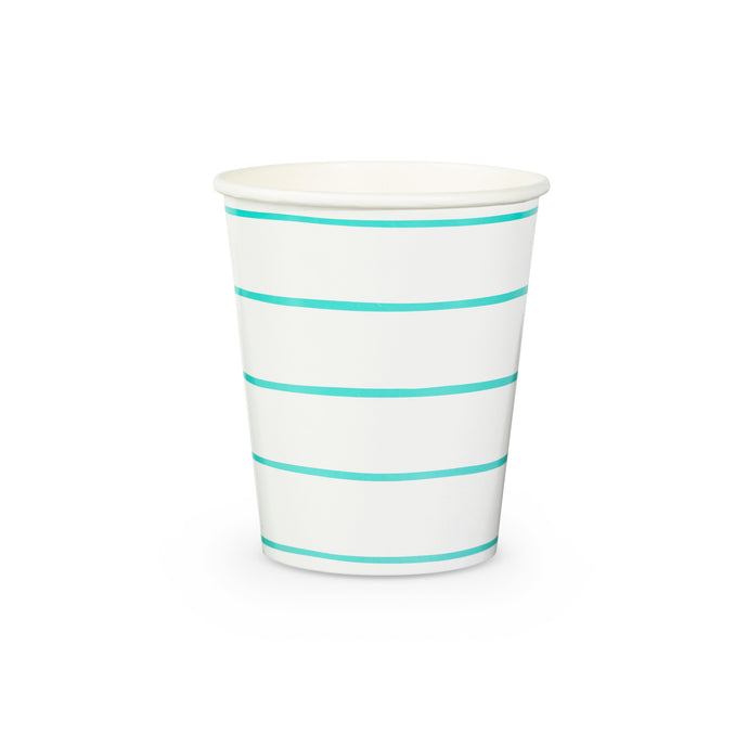 Aqua Frenchie Stripe Paper Cups - 8 Pack