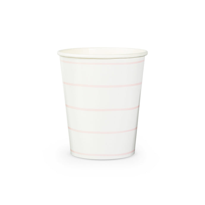 Pastel Pink Frenchie Stripe Paper Cups - 8 Pack