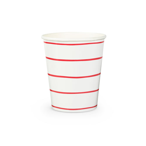 Red Frenchie Stripe Paper Cups - 8 Pack