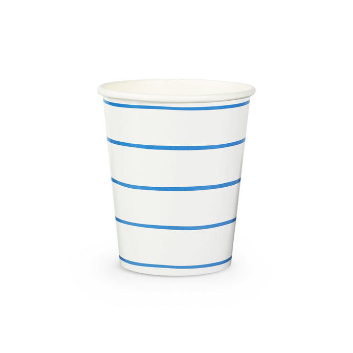 Cobalt Frenchie Stripe Paper Cups - 8 Pack
