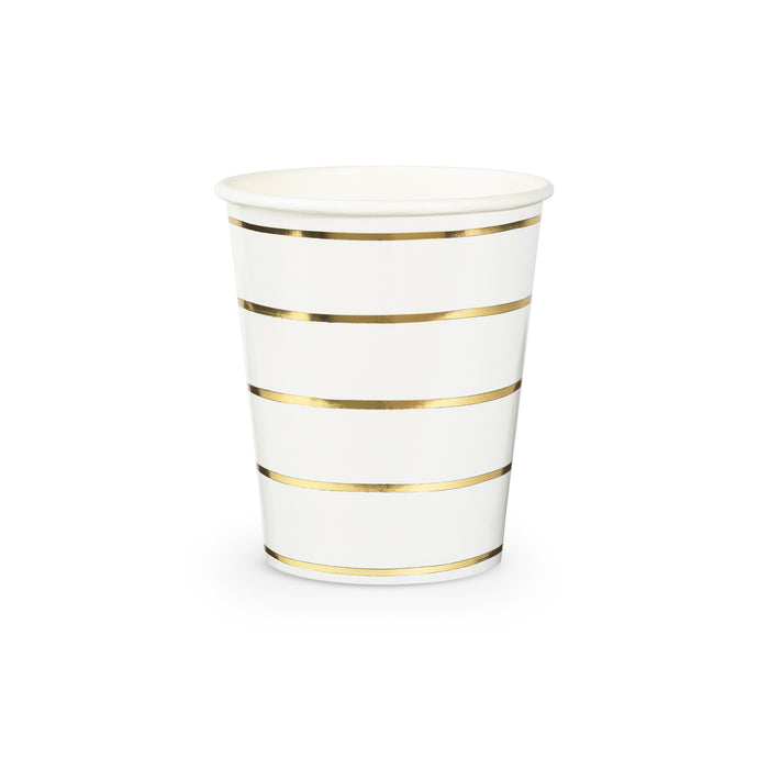 Metallic Gold Frenchie Stripe Paper Cups - 8 Pack