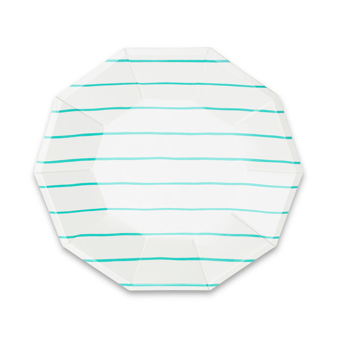 Aqua Frenchie Stripe Large Paper Plates - 8 Pack