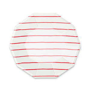 Red Frenchie Stripe Large Paper Plates - 8 Pack