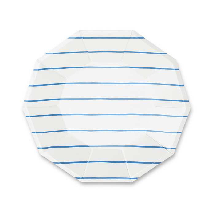 Cobalt Frenchie Stripe Large Paper Plates - 8 Pack