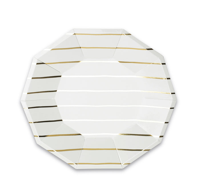 Metallic Gold Frenchie Stripe Large Paper Plates - 8 Pack