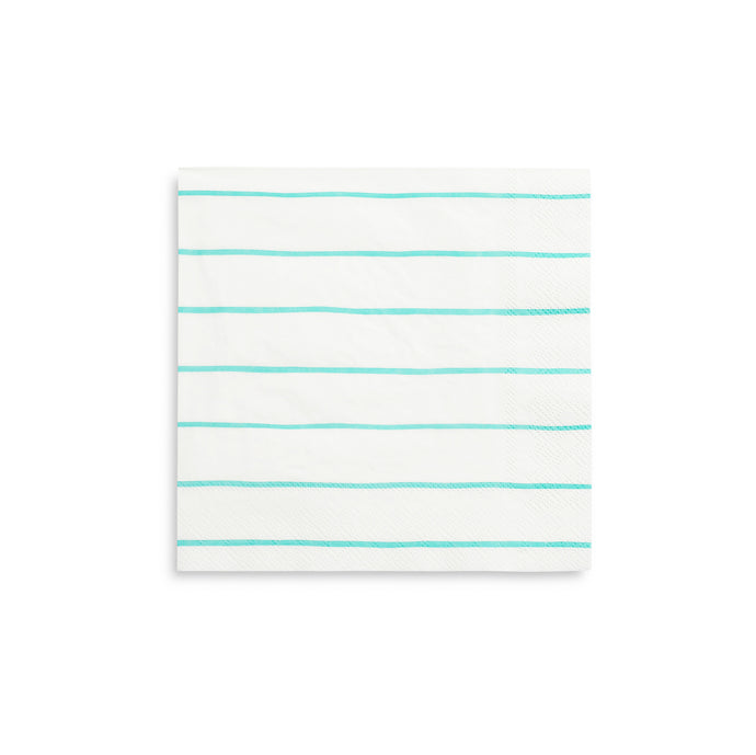 Aqua Frenchie Stripe Large Napkins - 16 Pack