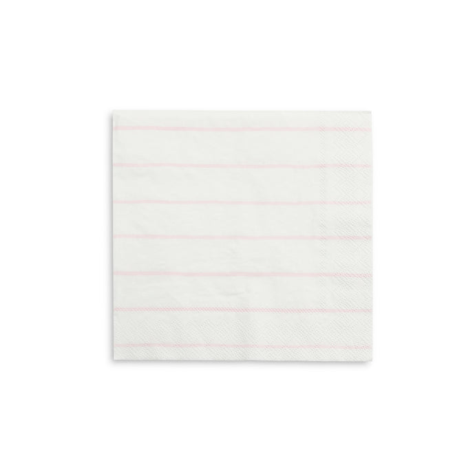 Pastel Pink Frenchie Stripe Large Napkins - 16 Pack