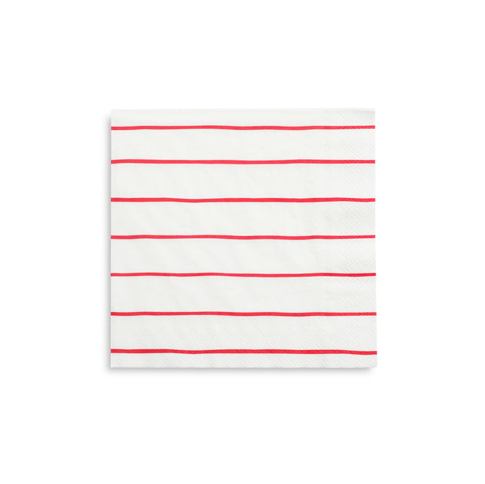 Red Frenchie Stripe Large Napkins - 16 Pack