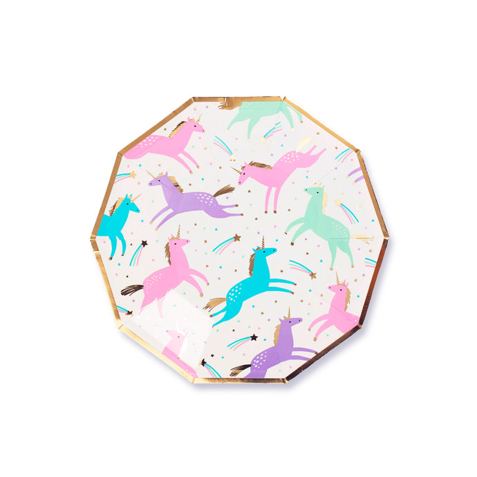 Magical Unicorns Small Paper Plates - 8 Pack