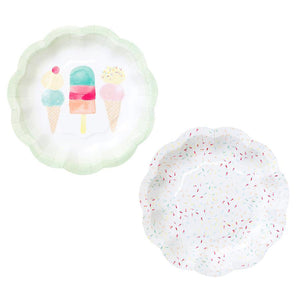 Ice Cream Sprinkle Small Paper Plates - 12 Pack