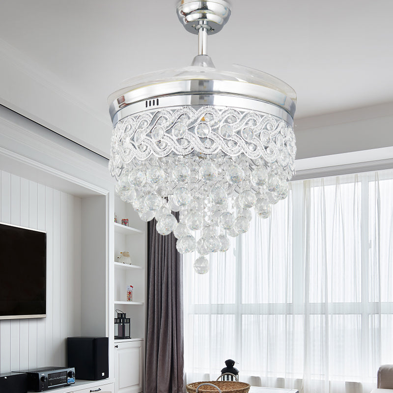Modern European Elegant LED Chrome Crystal Chandelier Ceiling Fan With  Plume And Foldable Blades And Remote