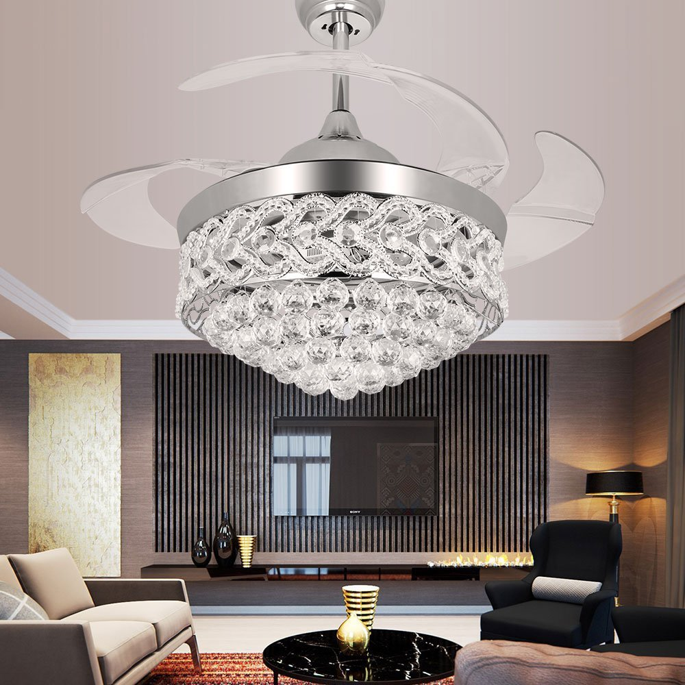 Modern european elegant led chrome crystal chandelier ceiling fan crystal chandelier fan with plume and retractable blades arubaitofo Gallery