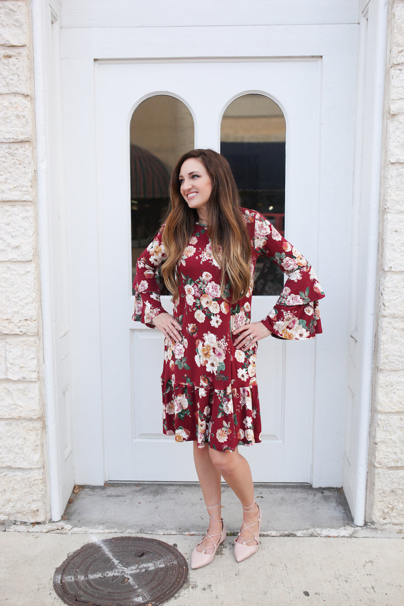 Floral Multi Bell Sleeve Midi Dress