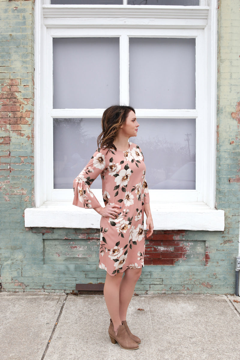 Bell Sleeve Flower Dress