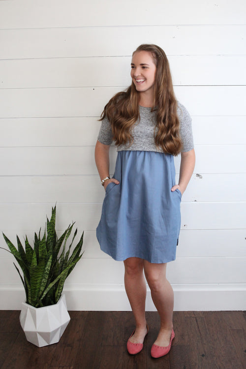 Grey/Denim Nursing Dress