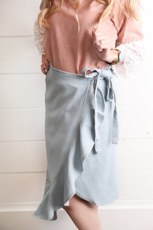 Jean Ruffle Wrap Around Skirt