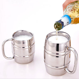 420ML Stainless Steel Double Walled Beer Cup Vodka Mugs Bamboo Barrel Tea Coffee Cups Travel Tumbler Camping Drinkware