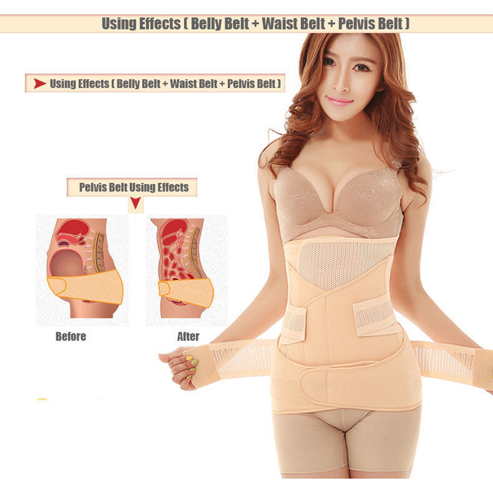 fbdda99fc1f14 3 in 1 Belly Abdomen Pelvis Postpartum Belt Body Recovery Shaper Wear Belly  Slim Waist Cinchers Breathable Waist Trainer Corset