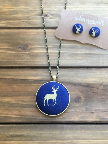 Deer- Navy and Gold