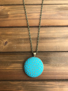 Gold Polkadot Necklace- Aqua
