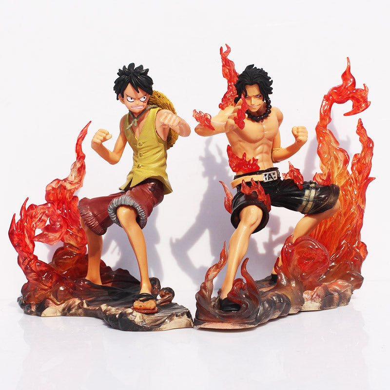 Lot de 2 figurines One Piece - Luffy et Ace 15 cm