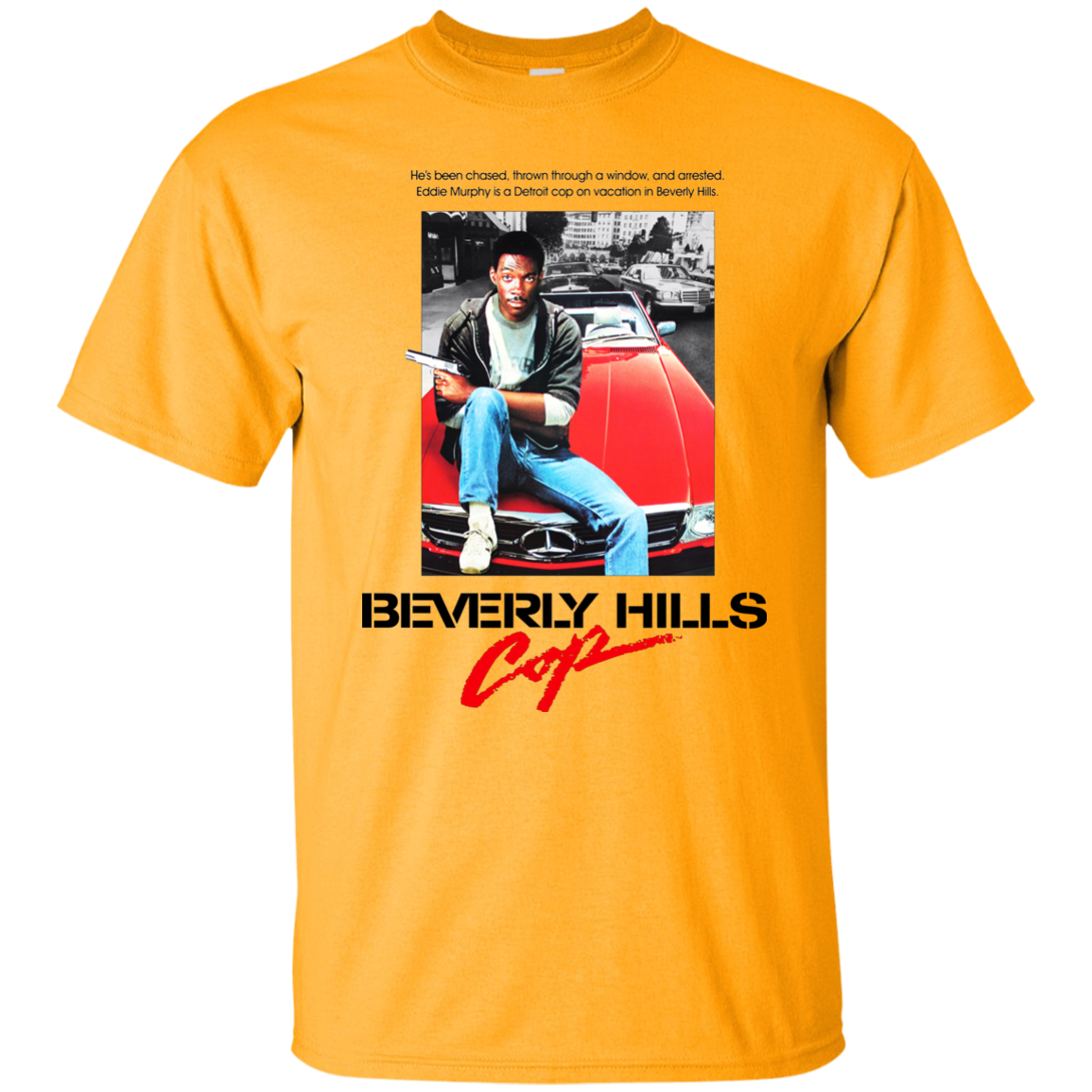 Trevco Mens Beverly Hills Cop Banana Tailpipe Heathered Adult T-Shirt