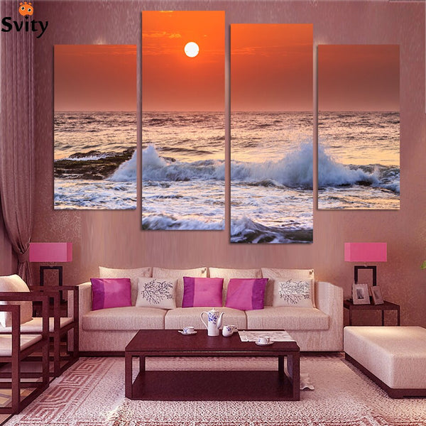 (No frame) Free shipping Seascape canvas art The sunrise at sea canvas prints home decoration print picture 4 panel no framed